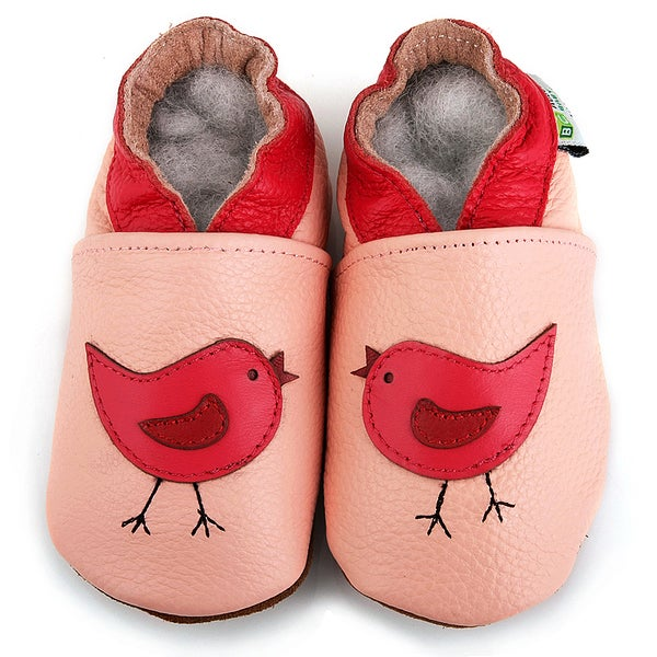 Pink Bird Soft Sole Leather Baby Shoes