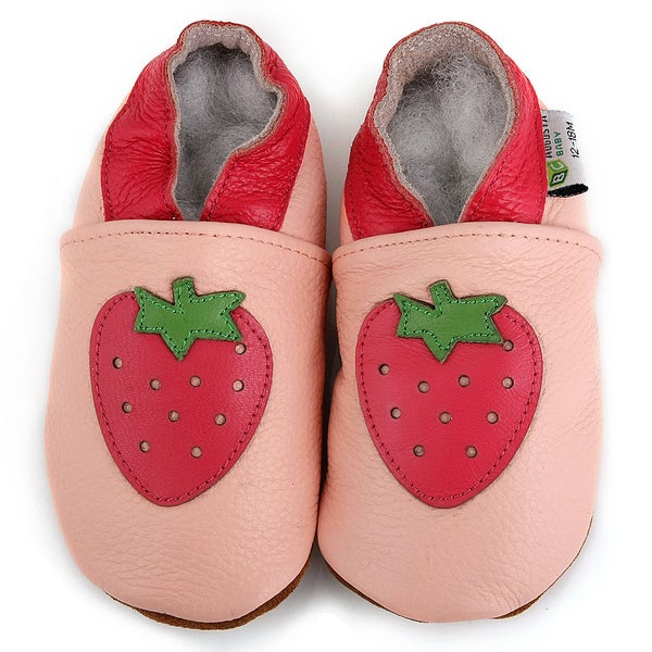 Pink Strawberry Soft Sole Leather Baby Shoes