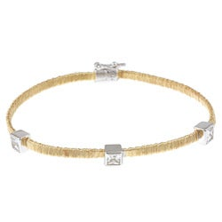 La Preciosa Sterling Silver Gold-Plated 'Threaded' Mesh Bracelet with Square Cubic Zirconia