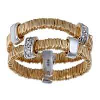 La Preciosa Goldplated Silver Stackable CZ 'Threaded' Ring