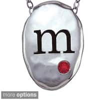 Chroma Sterling Silver Created Garnet Initial Necklace Made with Swarovski Element GEMS