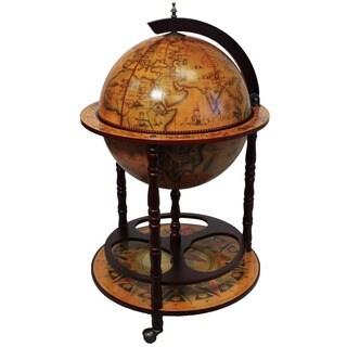 Wood 16th Century Style Globe Bar with Wine Rack Holder