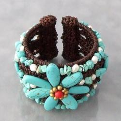 Cotton Wide Turquoise and Pearl Flower Cuff Bracelet (3-5 mm) (Thailand)