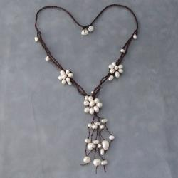 Cotton Wax Dainty Pearl Flowers Dangle Necklace (5-10 mm) (Thailand)