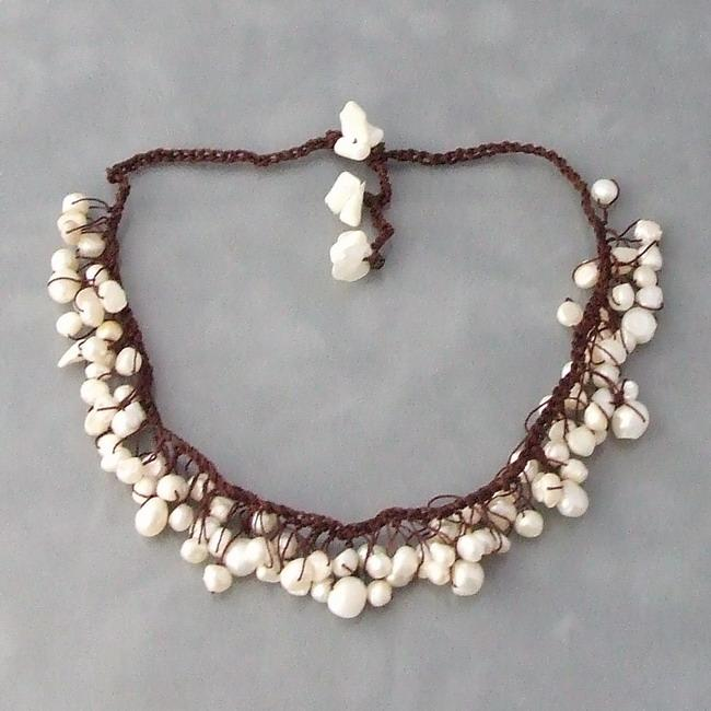 Handmade Cotton Knotted Freshwater Pearl Dangle Necklace (4-8 mm) (Thailand)