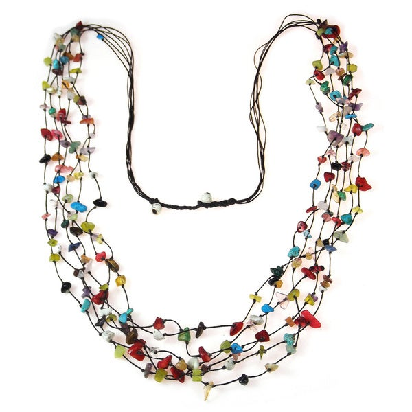 Cotton Multicolor Gemstone Layered Long Necklace (Thailand)
