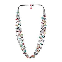 Handmade 6 Strands Multi Stone Wax Rope Necklace (Thailand)