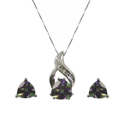 Gems For You Sterling Silver Topaz and Diamond Jewelry Set