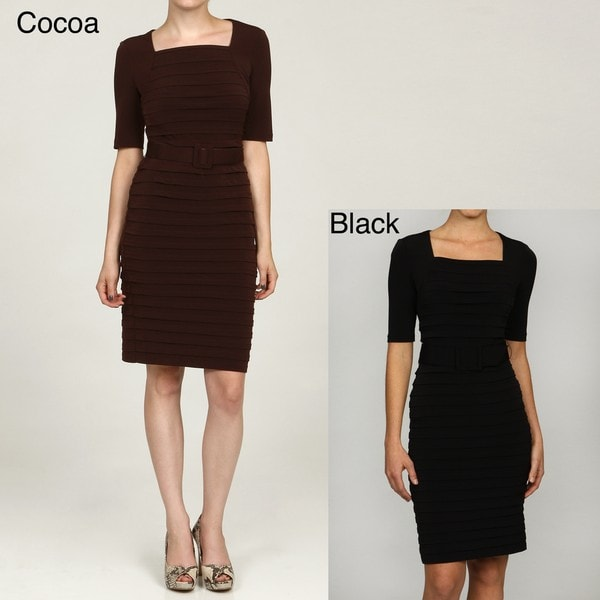 London Times Women X27 S Belted Shutter Pleat Dress