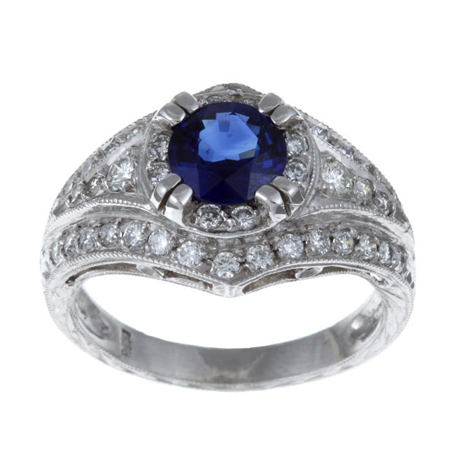 Platinum Estate 1/2ct TDW Diamond and Sapphire Ring (I-J, SI1-SI2)