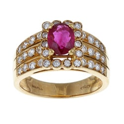 Pre-owned 18k Gold 1/2ct TDW Diamond and Ruby Estate Ring (H-I, SI1-SI2)