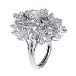 Pre-owned Platinum 8 1/2ct TDW Diamond Estate Ballerina Ring (H-I, SI3) - Thumbnail 1
