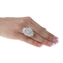 Pre-owned Platinum 8 1/2ct TDW Diamond Estate Ballerina Ring (H-I, SI3) - Thumbnail 2