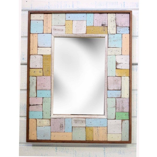 Boat Wood Block Party Mirror  , Handmade in Thailand