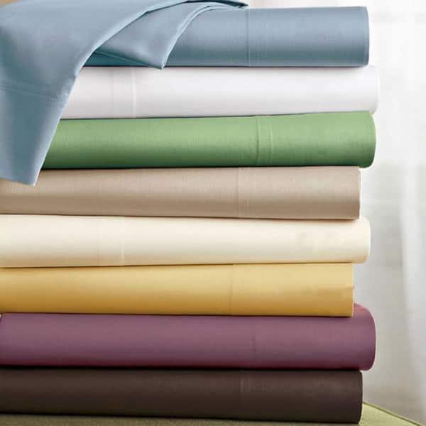330 Thread Count 100/% Cotton Sateen 3 Piece Twin Sheet Set in Light Blue