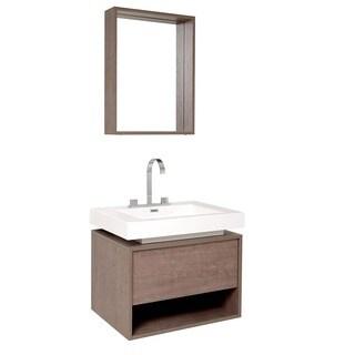 Fresca Potenza Grey Oak Bathroom Vanity with Pop-open Drawer