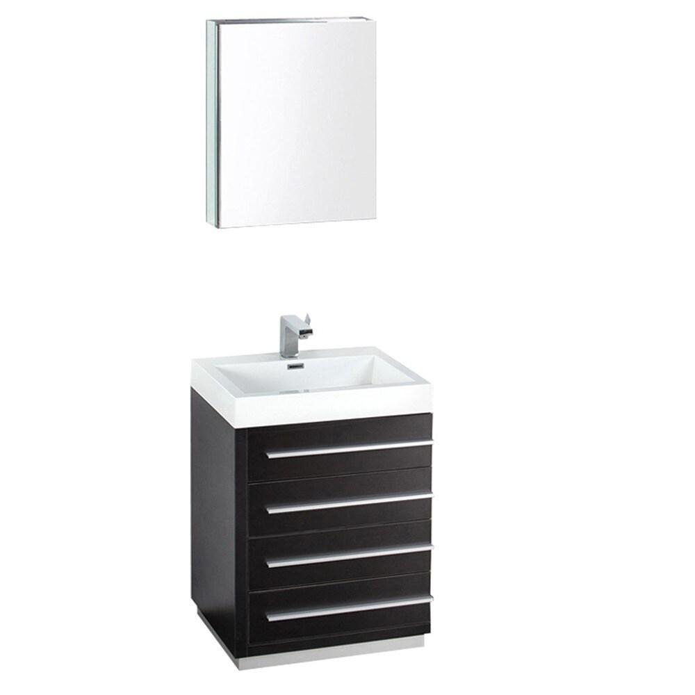 Fresca Livello 24 Inch Black Bathroom Vanity And Medicine Cabinet