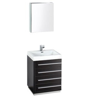 Fresca Livello 24-inch Black Bathroom Vanity and Medicine Cabinet