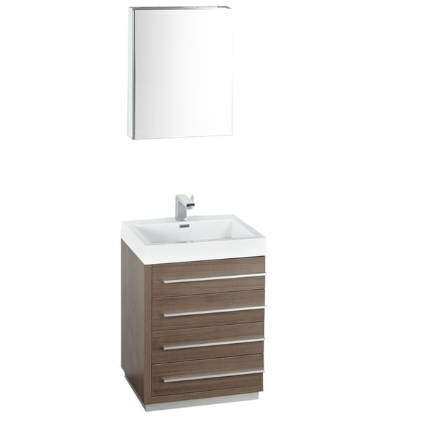 shop fresca livello 24 inch grey oak bathroom vanity with medicine cabinet free shipping today