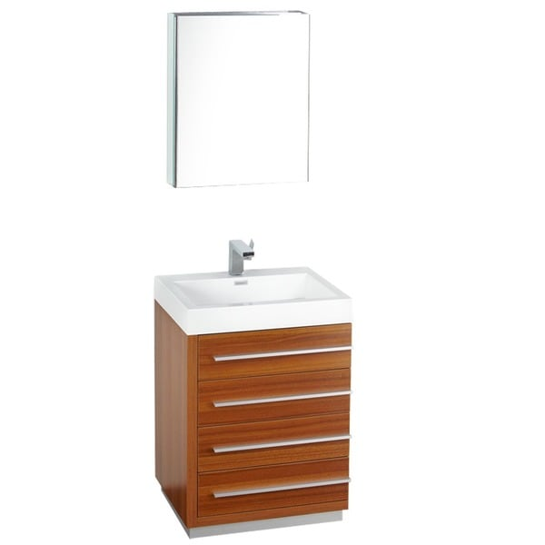 Fresca Livello 24 Inch Teak Bathroom Vanity And Medicine Cabinet