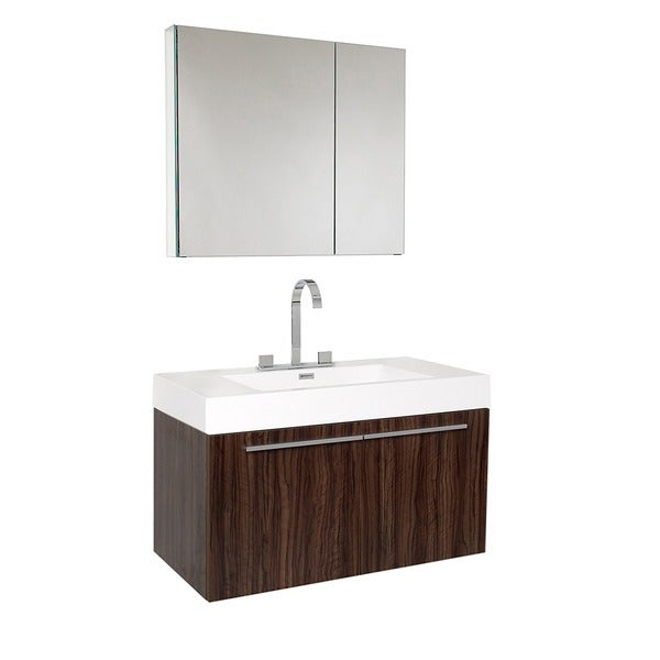 Fresca Vista Walnut Bathroom Vanity And Medicine Cabinet