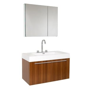 Fresca Vista Teak Bathroom Vanity and Medicine Cabinet