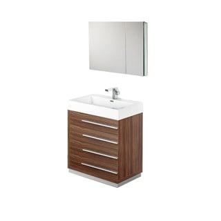 Fresca Livello 30-inch Walnut Bathroom Vanity and Medicine Cabinet
