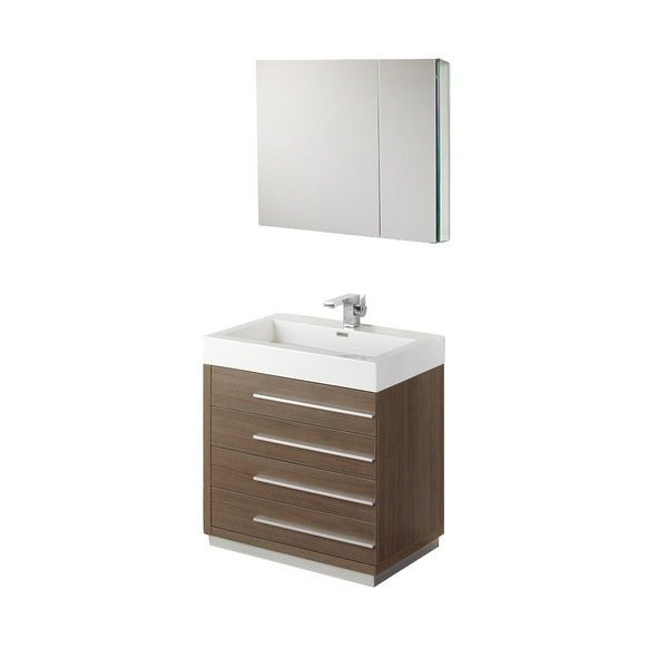 Fresca Livello 30 Inch Grey Oak Bathroom Vanity And Medicine Cabinet