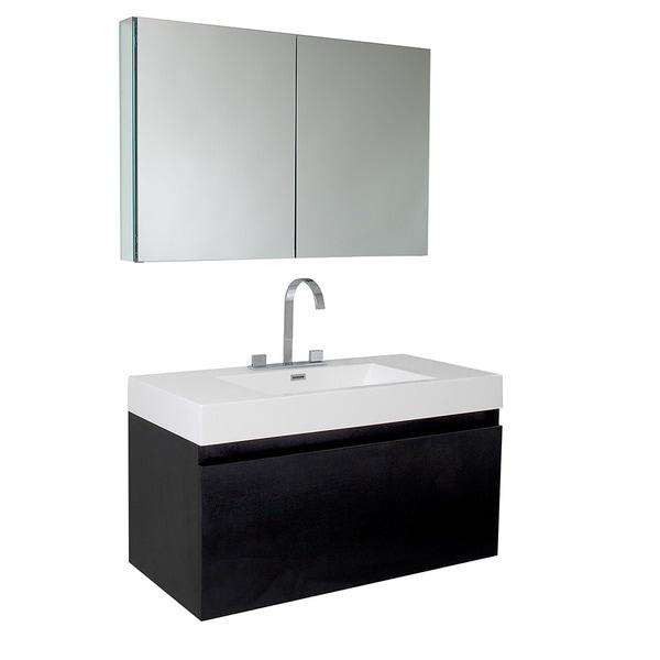 Fresca Mezzo Black Bathroom Vanity With Medicine Cabinet
