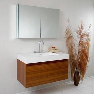 Fresca Mezzo Teak Bathroom Vanity with Medicine Cabinet