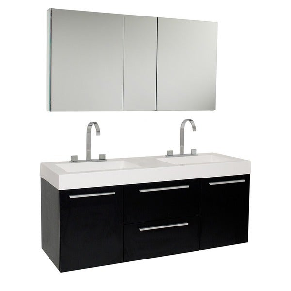 Fresca Opulento Black Double-sink Bathroom Vanity with Medicine Cabinet