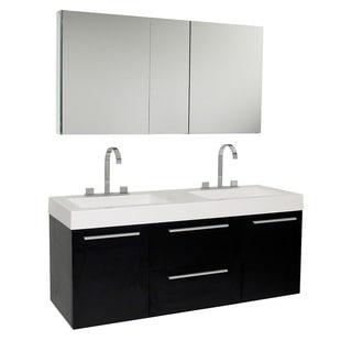 Fresca Opulento Black Double-sink Bathroom Vanity with Medicine Cabinet