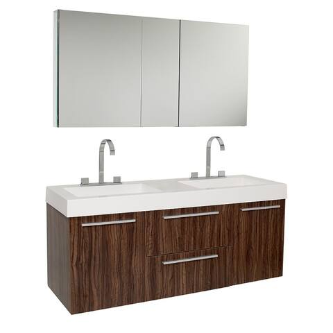 Fresca Opulento Walnut Double-sink Bathroom Vanity with Medicine Cabinet