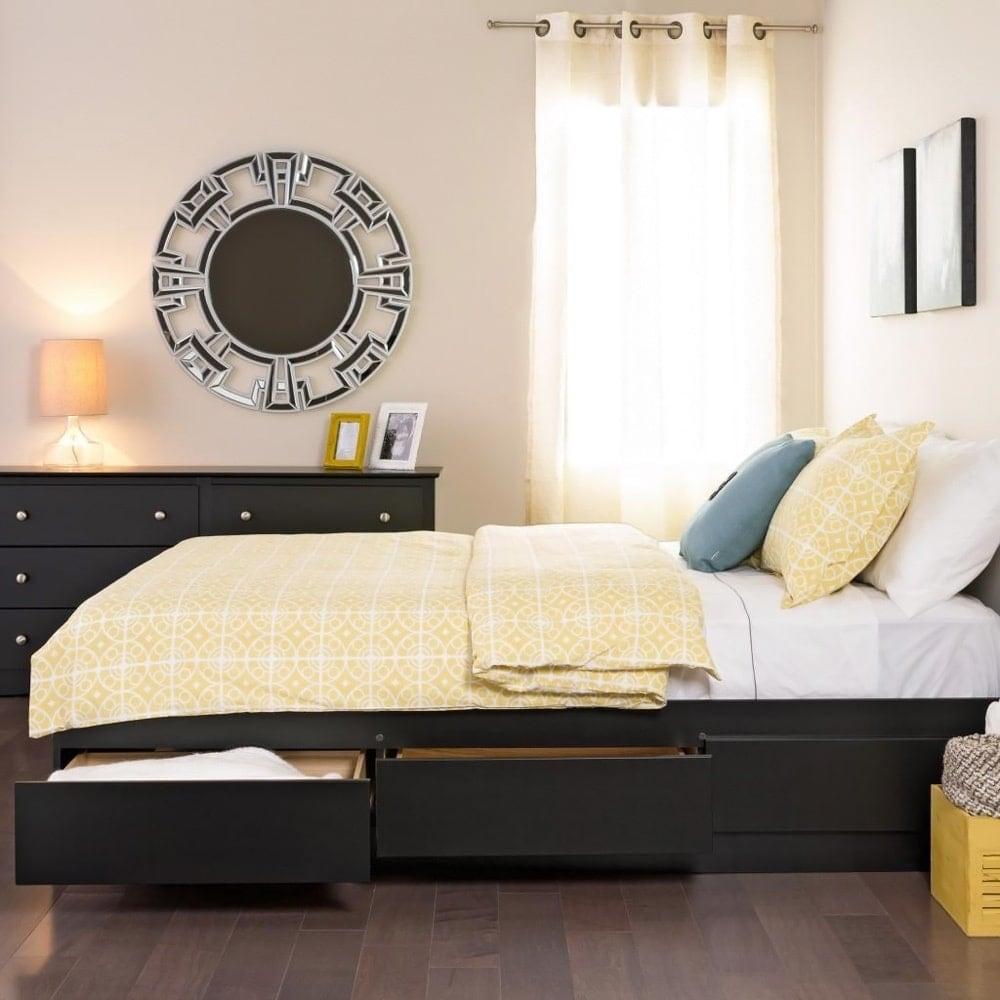 Yaletown Black Platform Storage Bed- Full