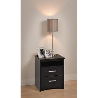 Yaletown 2-drawer Tall Black Night Stand