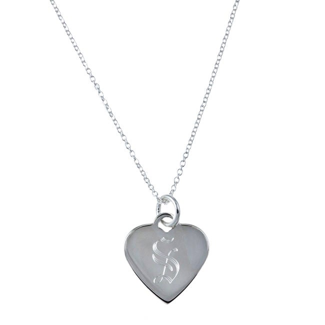 Sterling Silver 18-inch Old English Script Alphabet Heart Necklace