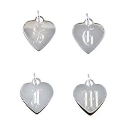 Sterling Silver 18-inch Old English Script Alphabet Heart Necklace - Thumbnail 1