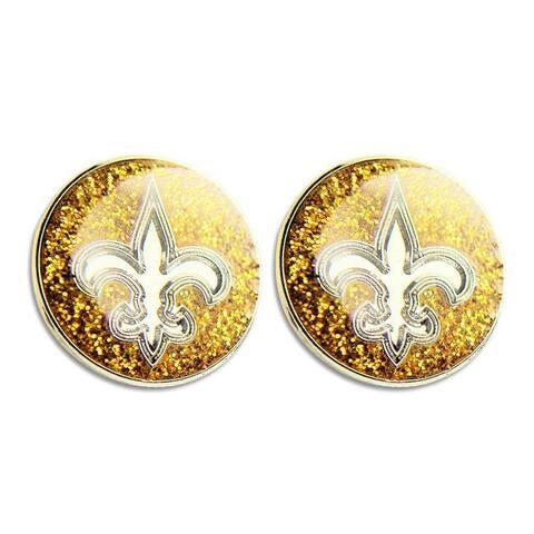 New Orleans Saints Glitter Stud Earrings