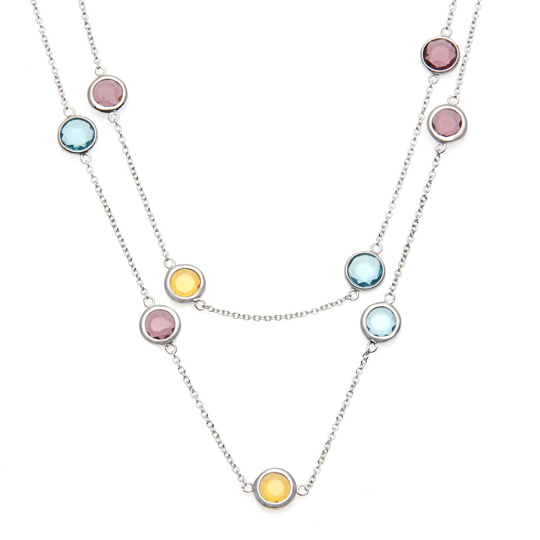 La Preciosa Sterling Silver Multi-colored Glass Necklace,...