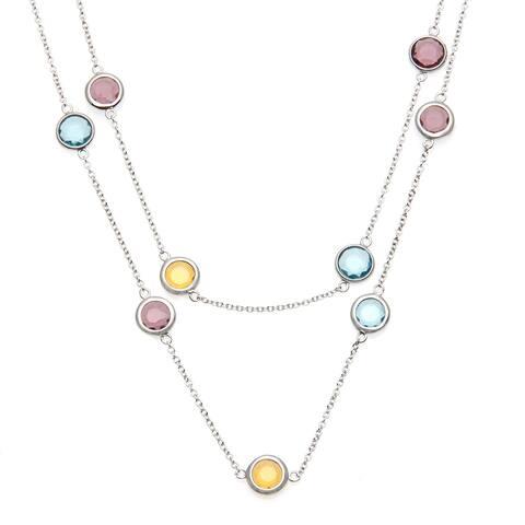 La Preciosa Sterling Silver Multi-colored Glass Necklace