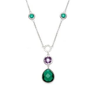 La Preciosa Sterling Silver Multi-colored Cubic Zirconia Necklace