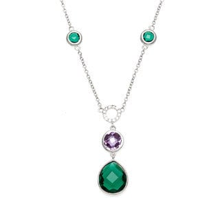 La Preciosa Sterling Silver Multi-colored Cubic Zirconia Necklace