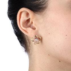 La Preciosa Three-color Sterling Silver Cubic Zirconia Flower Matte Finish Earrings - Thumbnail 2
