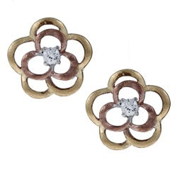 La Preciosa Three-color Sterling Silver Cubic Zirconia Flower Matte Finish Earrings