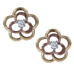 La Preciosa Three-color Sterling Silver Cubic Zirconia Flower Matte Finish Earrings