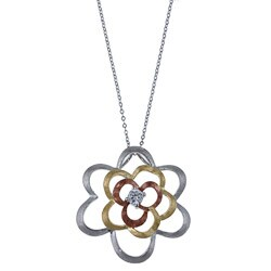 La Preciosa Three-color Sterling Silver Cubic Zirconia Flower Matte Finish Necklace