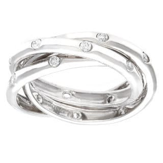 La Preciosa Sterling Silver Cubic Zirconia Triple Band Ring
