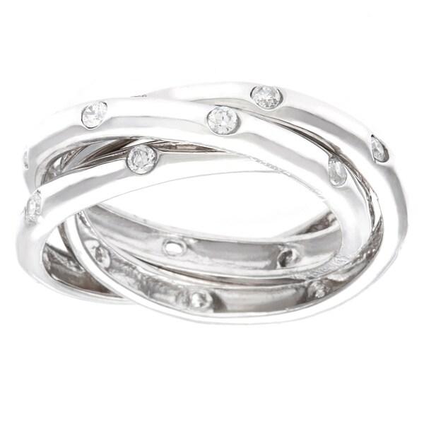 La Preciosa Sterling Silver Cubic Zirconia Triple Band Ring