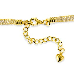 La Preciosa Gold over Silver CZ Mesh Necklace - Thumbnail 1
