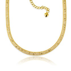 La Preciosa Gold over Silver CZ Mesh Necklace
